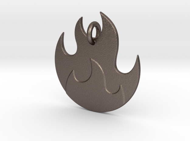 Fire Emoji Pendant - Metal in Polished Bronzed-Silver Steel