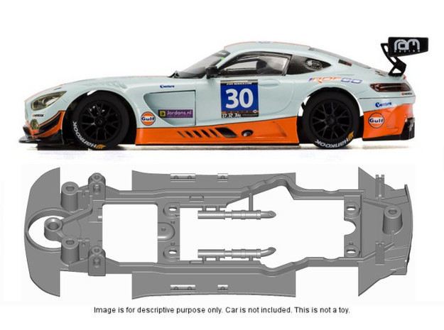 S23-ST4 Chassis for Scalextric AMG SSD/STD in Black Natural Versatile Plastic