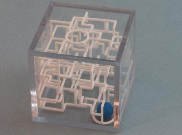 """""""Bare Bones"""" Two-Pack - Rolling Ball Maze in Case in White Natural Versatile Plastic"""