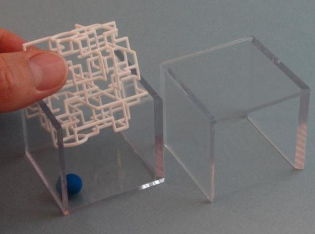 """Bare Bones"" Two-Pack - Rolling Ball Maze in Case 3d printed Slide maze into Case"