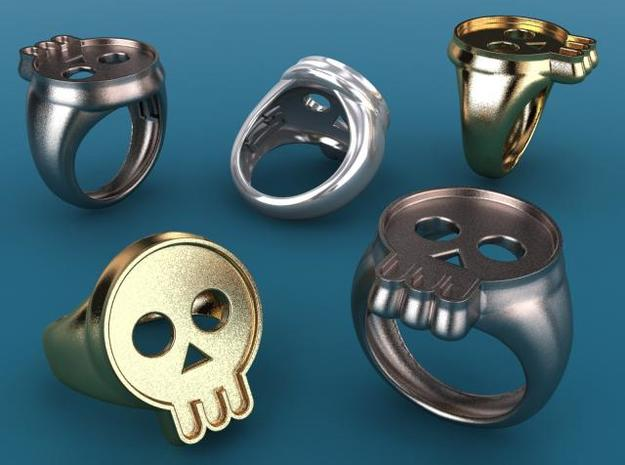 Skull IV ring in Fine Detail Polished Silver