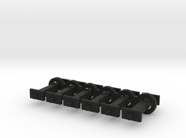 N Scale 10mm Fixed Coupling Drawbar x6 in Black Natural Versatile Plastic