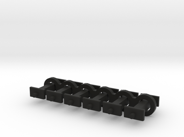 N Scale 8mm Fixed Coupling Drawbar x6 in Black Natural Versatile Plastic