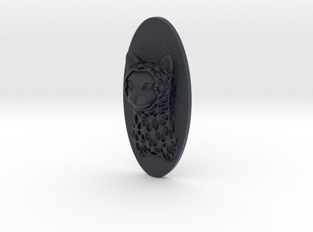 Cat Face + Half-Voronoi Mask (001) in Black Professional Plastic