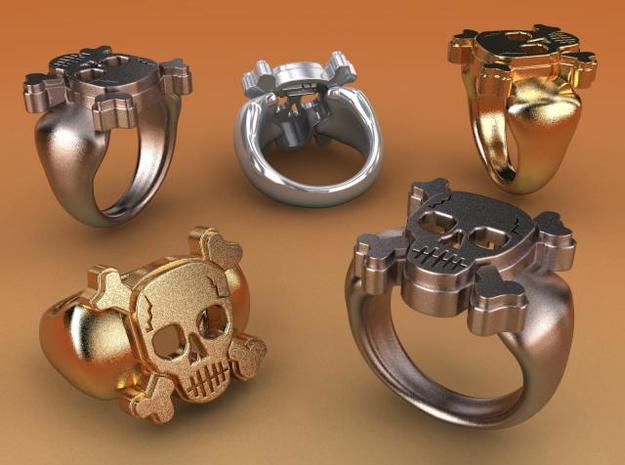 Skull IX Ring in Polished Bronzed Silver Steel