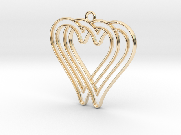 Two hearts intertwined in 14k Gold Plated Brass