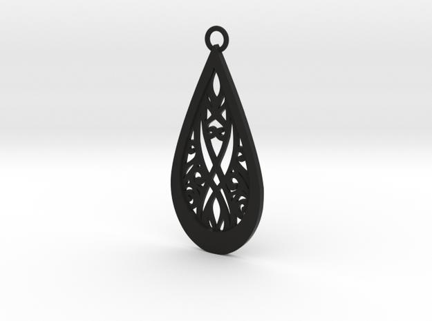 Elven pendant in Black Natural Versatile Plastic: Medium