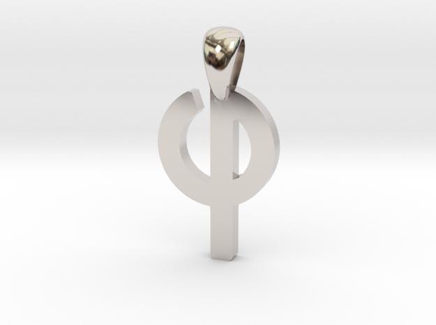 Phi Pendant in Rhodium Plated Brass
