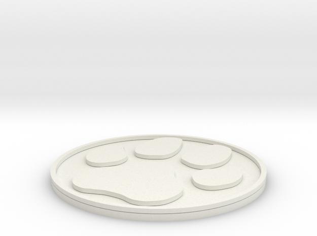 Paw Print Coaster in White Natural Versatile Plastic