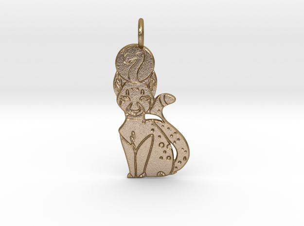 Ra - The Great Cat in Polished Gold Steel