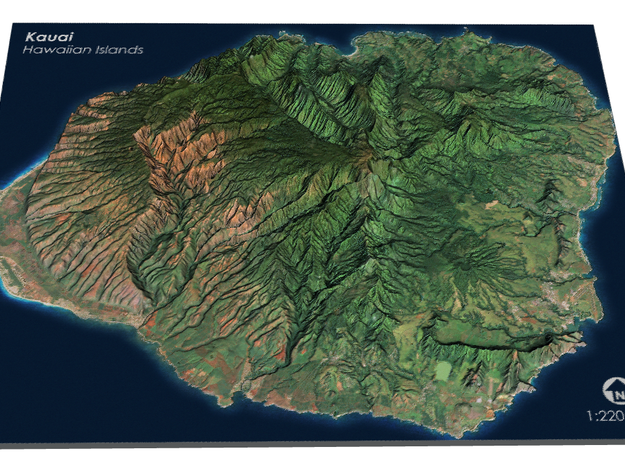 Kauaʻi Map, Hawaiian Islands in Matte Full Color Sandstone