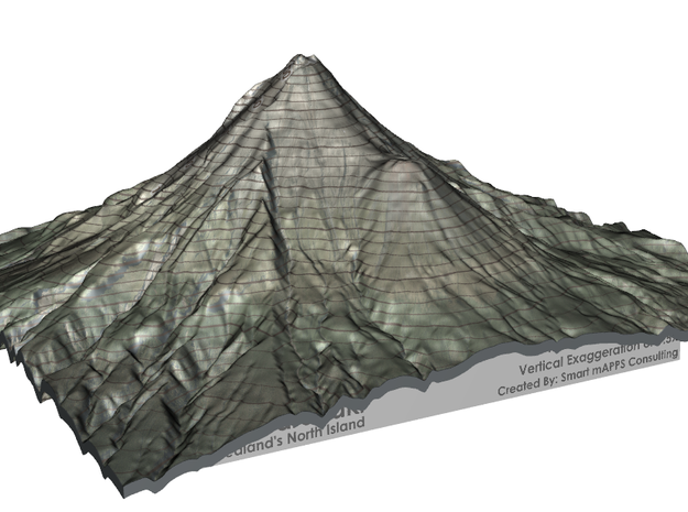 "Mt Taranaki Map - 9"" Contour in Full Color Sandstone"