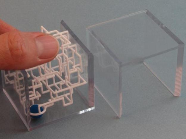 """Bare Bones"" - 3D Rolling Ball Maze in Clear Case( 3d printed Slide Ring over Ball"