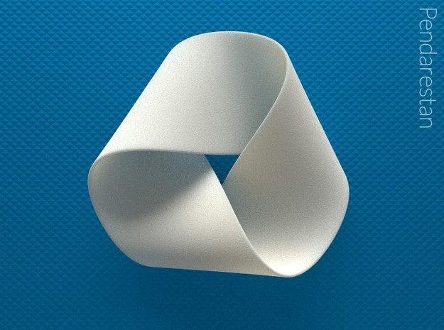 Folded Mobius Triplex in White Processed Versatile Plastic: Small