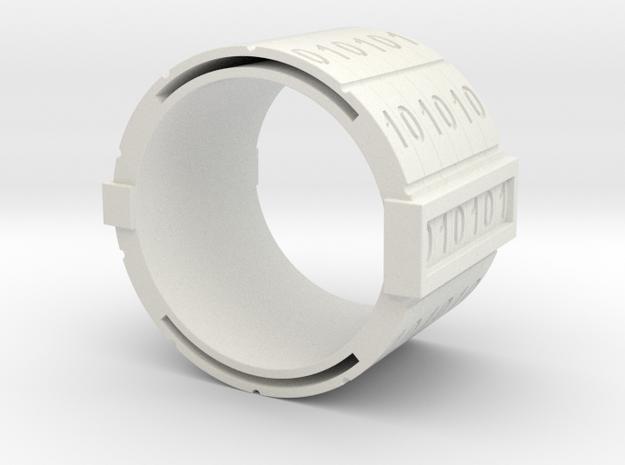 binary-ring-9US in White Natural Versatile Plastic