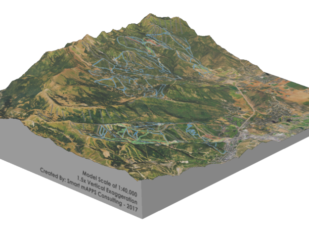 Park City Ski Map, Utah in Glossy Full Color Sandstone