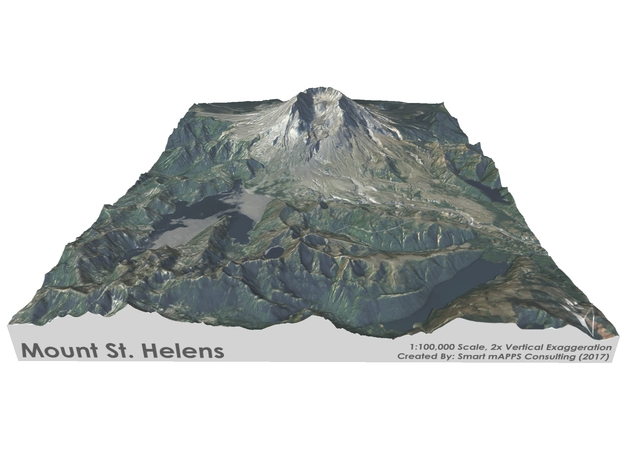 "Mount St. Helens Map: 8.5""x11"" in Full Color Sandstone"