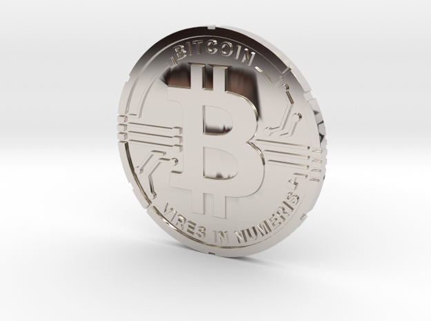 Bitcoin Coin BTC in Rhodium Plated Brass