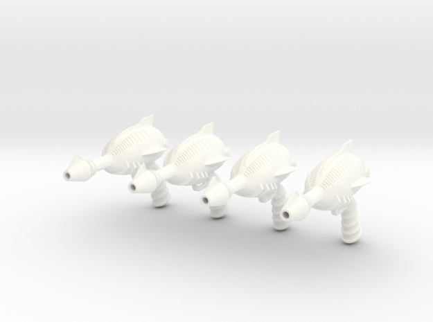 """Space Angel"" Blaster Pistol - 4 Pack (1:6 Scale) in White Processed Versatile Plastic"