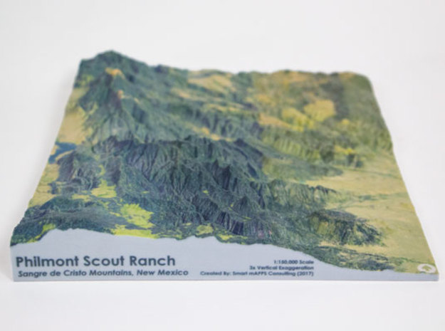 Philmont Scout Ranch Map, New Mexico in Matte Full Color Sandstone