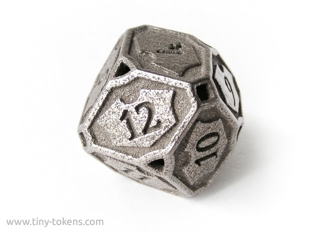 Planeswalker Loyalty D12 (Version 2) in Polished Bronzed-Silver Steel