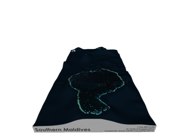 Southern Maldives Map in Glossy Full Color Sandstone