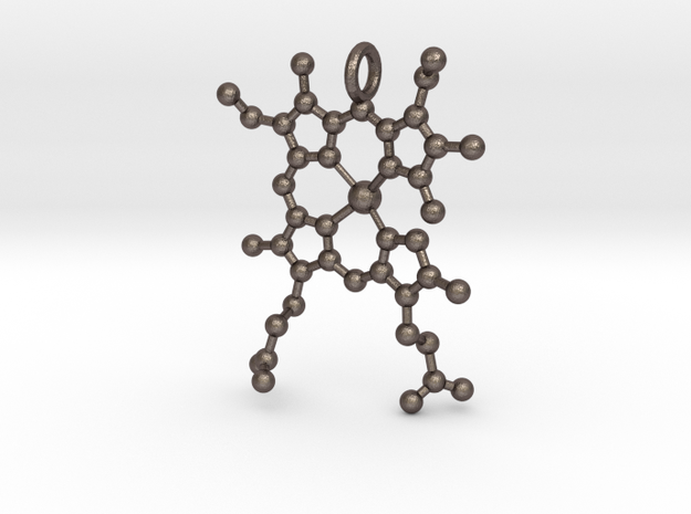 Deoxygenated HEME Group Pendent in Polished Bronzed-Silver Steel