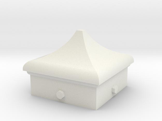 Signal Finial (Square Cap) 1:6 scale in White Natural Versatile Plastic