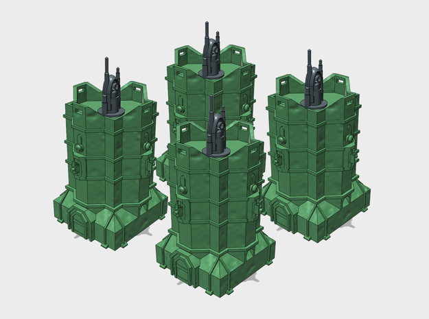 [Tiny Titans] 4x Coms Relay Bastions  in White Processed Versatile Plastic