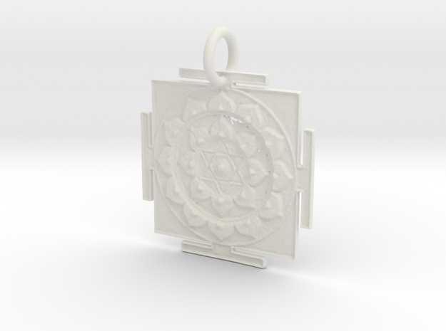 Vishnu Yantra Pendant in White Natural Versatile Plastic: Small