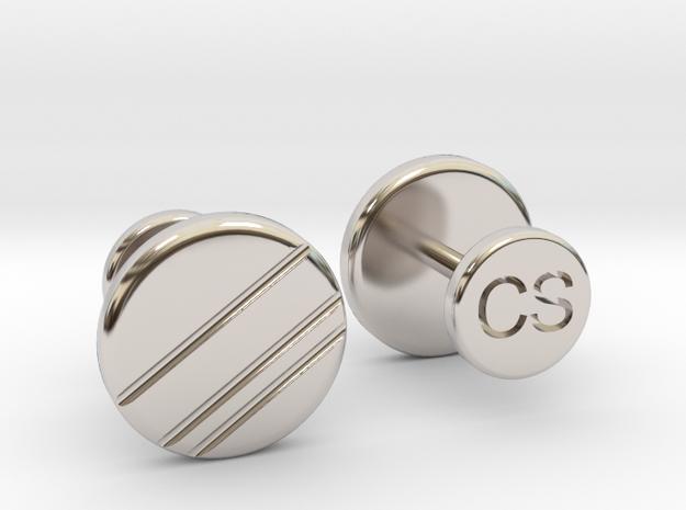 Personalized Stud/Button cufflinks in Rhodium Plated Brass