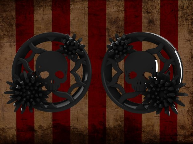 2 Inch Chrysanthemum And Skull Tunnel (right) in Matte Black Steel