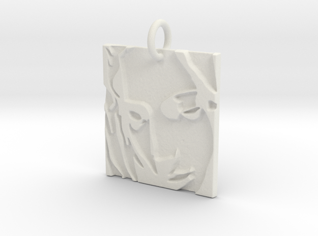 Mother Mary Abstract Pendant in White Natural Versatile Plastic: Extra Small
