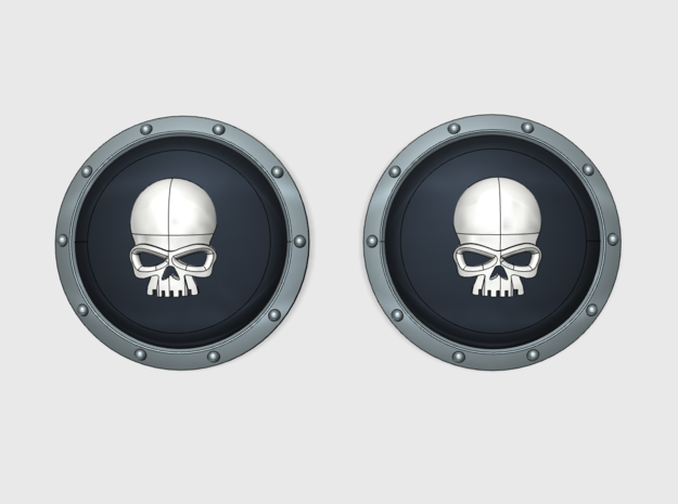 10x Skull: Power Shields (L&R) in Smooth Fine Detail Plastic