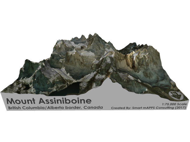 Mount Assiniboine Map - Natural in Matte Full Color Sandstone
