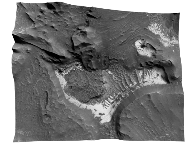 Mars Map: Light Outcrops in B&W in Matte Full Color Sandstone