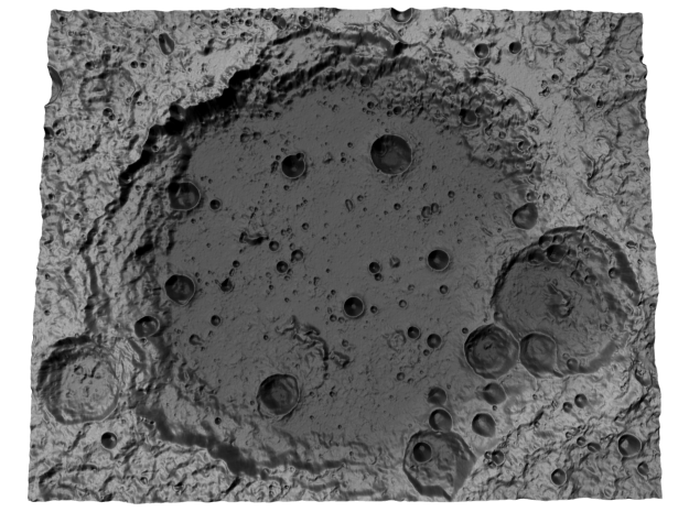 Moon Map: Large Crater, B&W in Full Color Sandstone