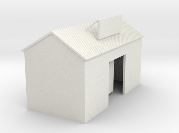 'N Scale' - Cement Building in White Natural Versatile Plastic