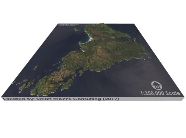 Stewart Island Map, New Zealand in Matte Full Color Sandstone