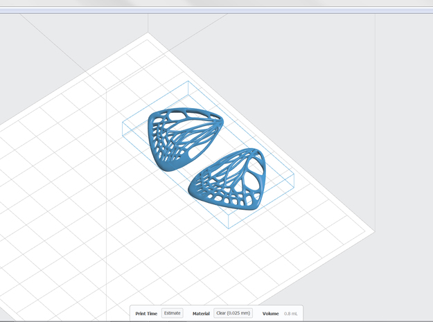 Butterfly Earrings (S)  3d printed Screenshot  in PreForm