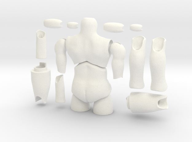 'Storybook' BJD body MALE (without hands and feet) in White Processed Versatile Plastic