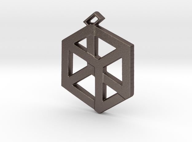 Small Pandora's Box Pendant v2 in Polished Bronzed-Silver Steel
