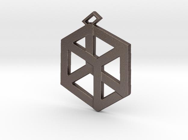 Medium Pandora's Box Pendant v2 in Polished Bronzed-Silver Steel