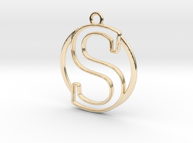 Initial S & circle  in 14k Gold Plated Brass