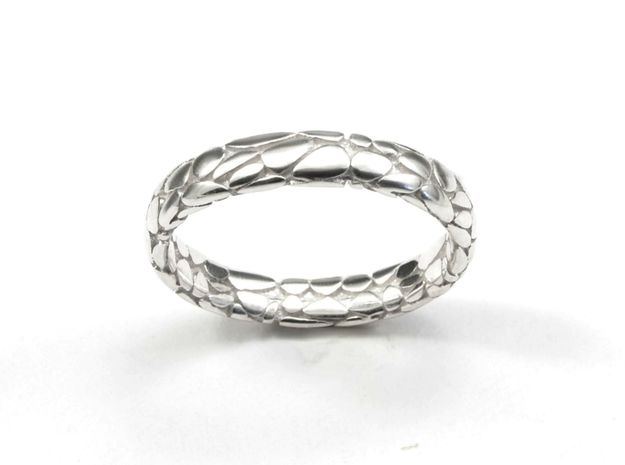 Music Skin Ring. in Polished Silver: 7 / 54