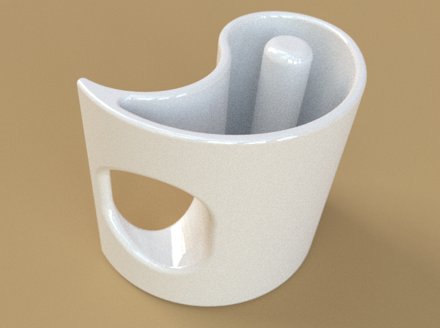 Yin-Yang Espresso Cup, anticlockwise variant 3d printed A single cup, in white ceramic.
