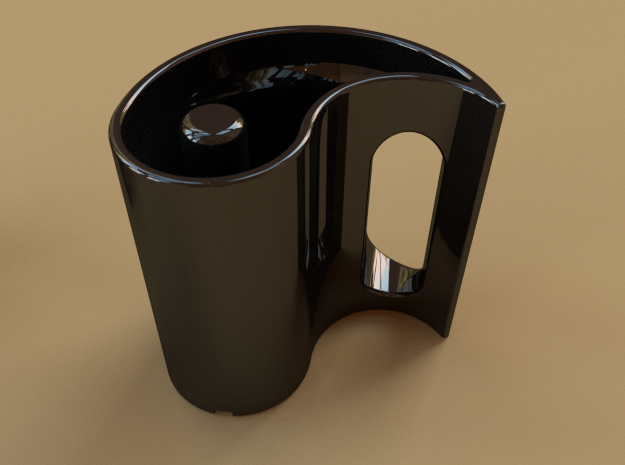 Yin-Yang Mug, anticlockwise variant 3d printed What it would look like if you ordered it in in black ceramic.