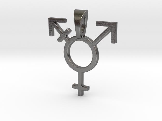 Transgender Pride Symbol Pendant in Polished Nickel Steel