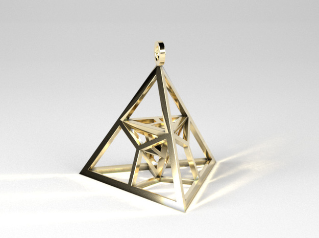 Fractal Pyramid - Pendant in Polished Brass