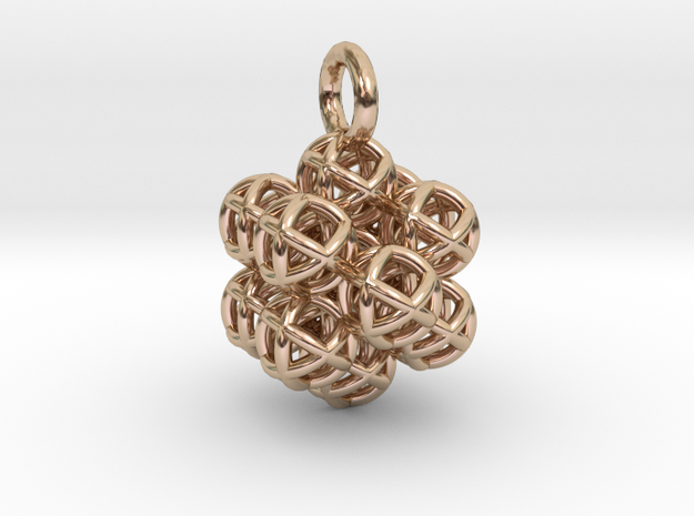 13 Vector Equilibrium Spheres Fractal - small in 14k Rose Gold Plated Brass